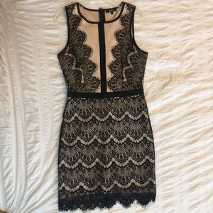 NWOT Black and nude lace cocktail dress